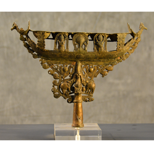 Kerala, Boat Shaped Bronze Oil Lamp/Diya