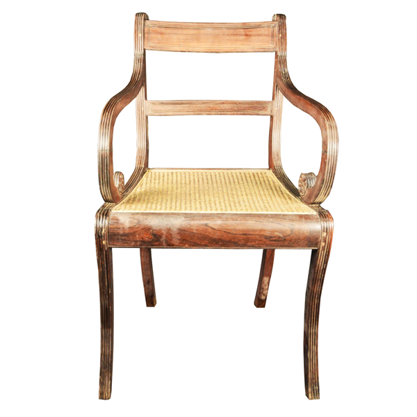 Indo Portuguese, Rosewood, Regency Armchair With C Scroll Arms & Sabre Legs