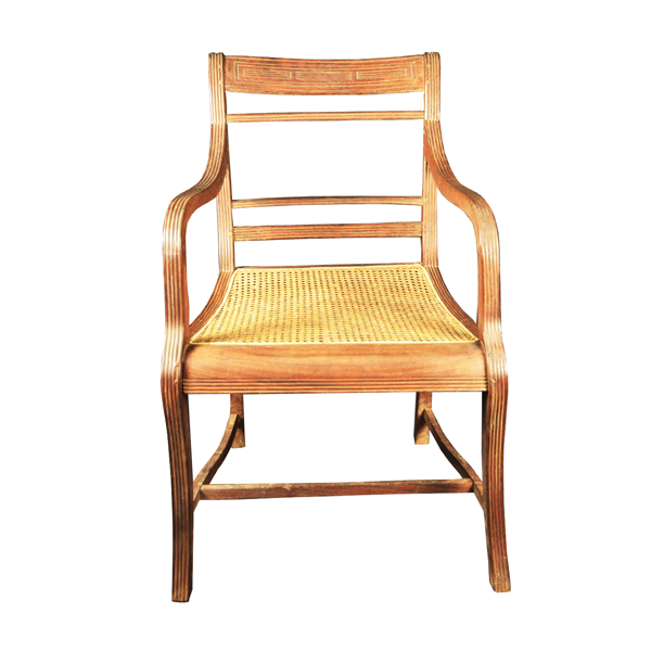 Indo Portuguese, Rosewood, Regency Armchair. Rattan Seat With Elegantly Shaped Arms.