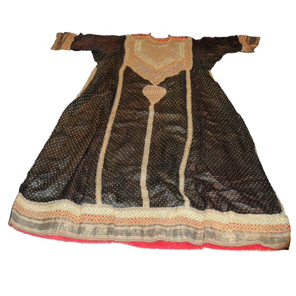 Abha - Khatri West coast Kutch bandhaniin Chinese silk with zari work