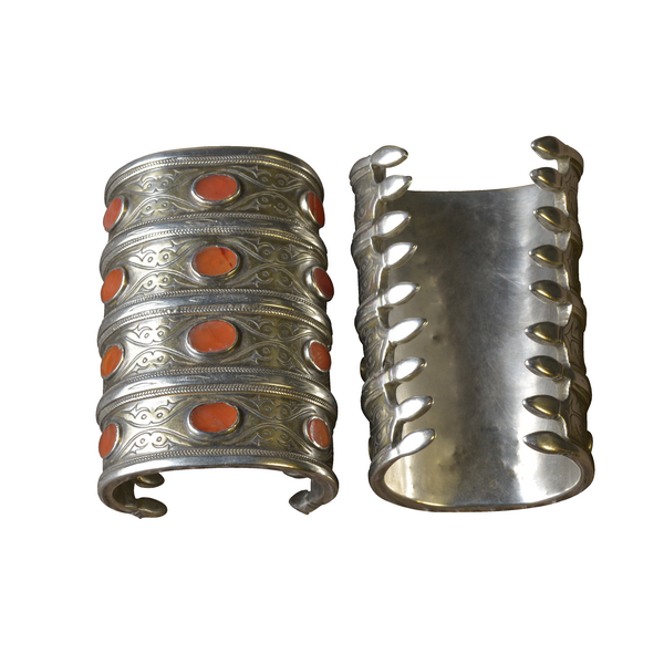 Pair Of Silver Turkoman Bracelts With Carnelian