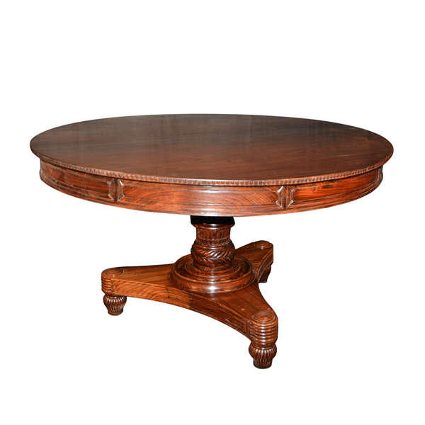 British Colonial,Rosewood,Single Pedestal Regency, Round Dining Table