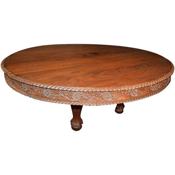 indian carved dining table. of anglo indian influence, rosewood, round dining table with carved apron gadrooned edged