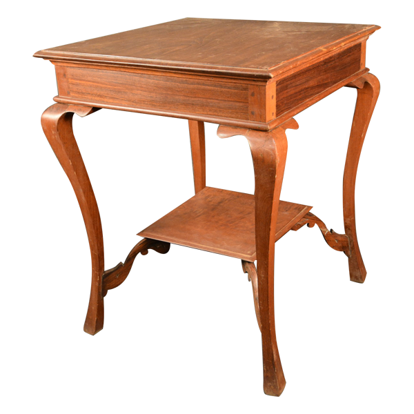 Dutch Colonial, Rosewood & Teakwood, Square, Occasional Table With Handsomely Shaped Legs