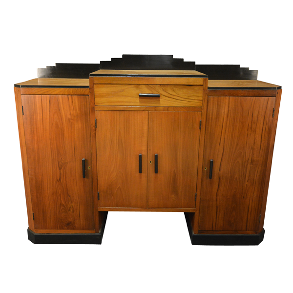 Art Deco, Teakwood And Ebonised Teakwood, Sideboard With Side Cabinets & Middle Drawer Over A 2 Door Shutter.
