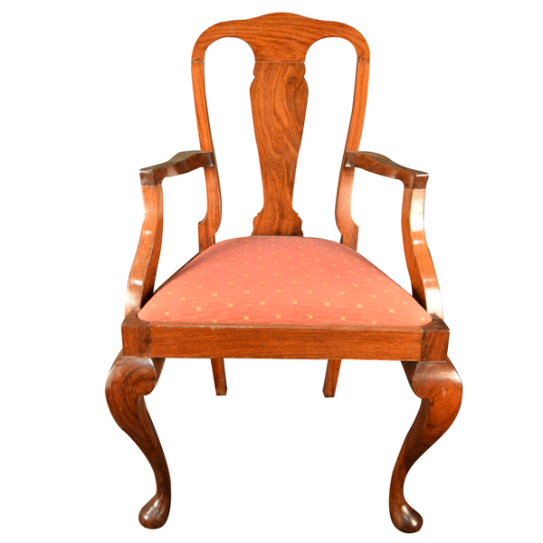 British Colonial   Teakwood   Queen Anne Armchair