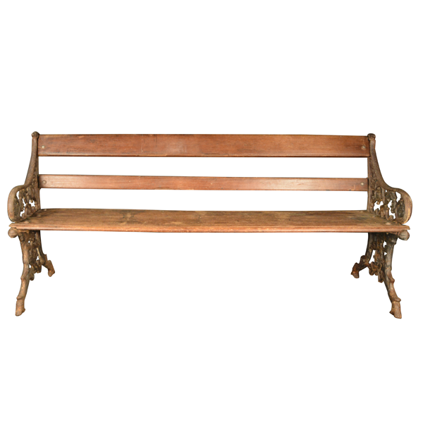 British Colonial, Cast Iron Sides, Teakwood, Bench    