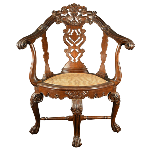 Indo Portuguese, Rosewood Armchair, Of An Unusual Shape With Carved Back Splat & Wonderfully Shaped Arms With Rattan Seat.