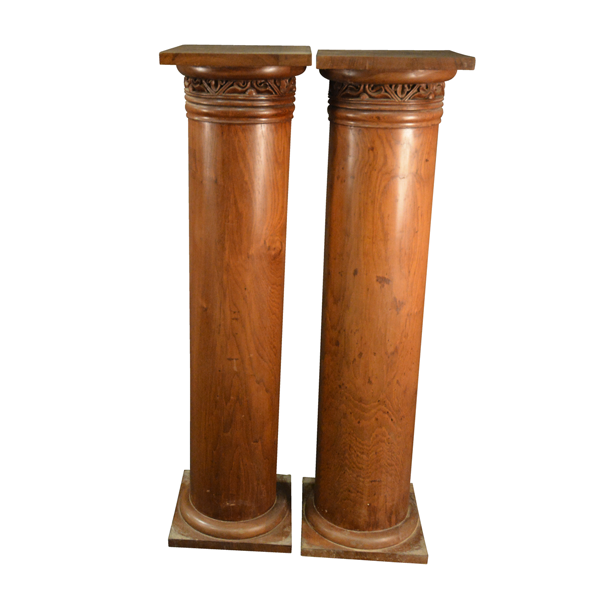 Of Dutch and Colonial Influence, Palmstands In Pillar Form, Satinwood With A Magnificent Grain