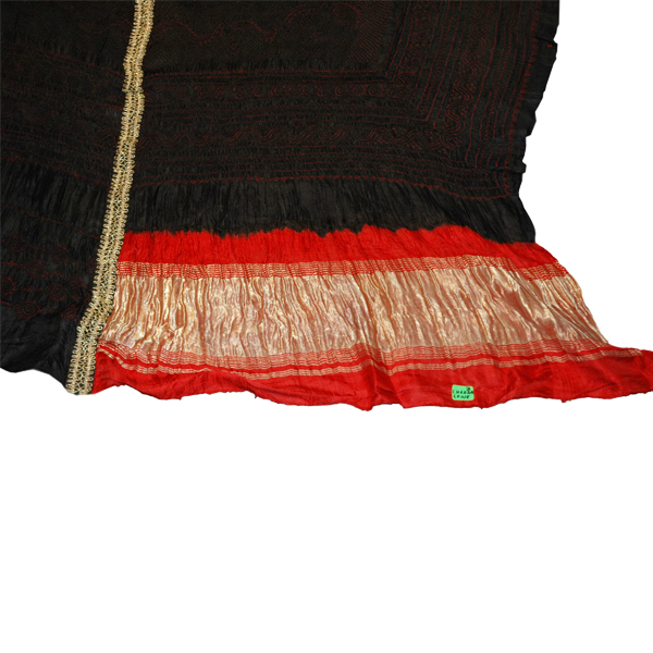 Odhana- Chandra Kuni Tie and Dye Silk used by the Rabaris made in 2 parts and joined with Zari- used by the Khoja community  - West Kutch.